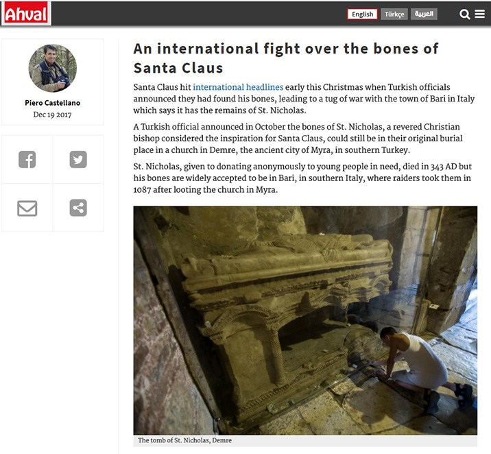 An international fight over the bones of Santa Claus