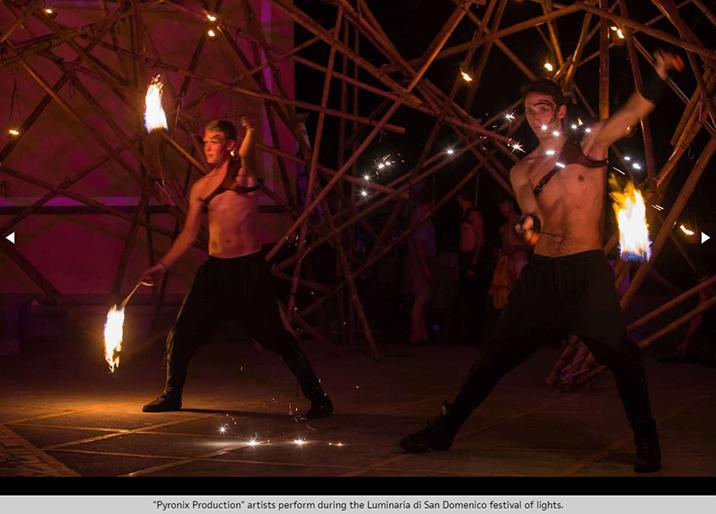 Fire dance at festival of lights on Amalfi Coast