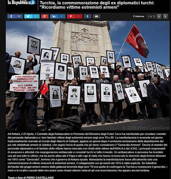 Turkish retired diplomats remember Armenian extremists' attacks on centennial of 1915 mass killings